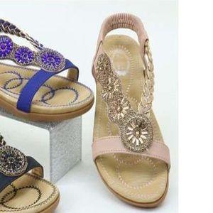 0f2558659 Italina ROMA Blush  Gold Rhinestone Comfort Sandal